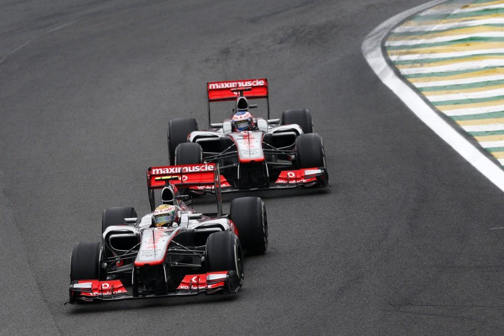 Lewis Hamilton and Jenson Button at Brazilian GP *** Local Caption *** +++ www.hoch-zwei.net +++ copyright: HOCH ZWEI +++